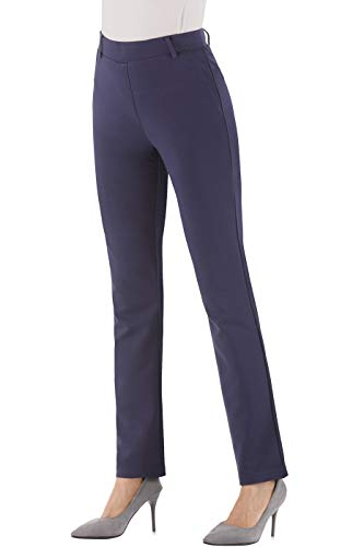 BodiLove Women's Pull On Straight Leg Stretchy Formal Slacks Navy 2