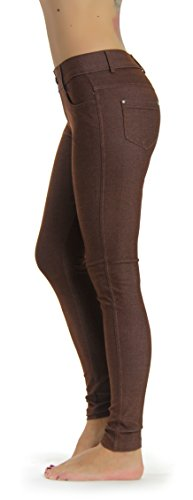 Prolific Health Women's Jean Look Jeggings Tights Yoga Many Colors Spandex Leggings Pants S-XXL (Large, - Stretch Brown Jeans