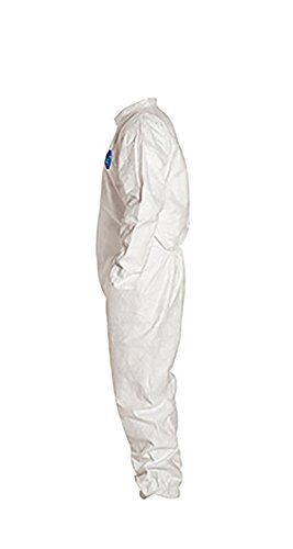 DuPont Tyvek 400 TY125S Disposable Protective Coverall with Elastic Cuffs, White, X-Large (Pack of 25) by DuPont (Image #3)