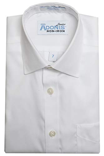 Little Boys 100% Cotton Non-Iron White 'Pinpoint' Barrel Cuff Dress Shirt (7)