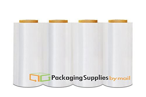 Cast Hand Wrap Stretch Clear Film 12'' x 1500' x 90 Gauge 4 Rolls by PackagingSuppliesByMail