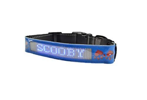 Pawsitive Care led dog collar and leash set Flexible sign with Mobile App blueetooth Programmable Text input and other features bluee color PULeather Adjustable size collar from 49 cm 56 cm (19 inches to 22 inches) fits Large to Extra Large dogs Water spl
