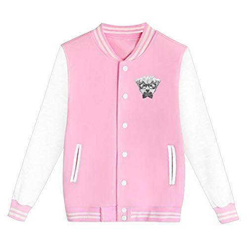 Rhfjgk Ldjg Maltese with Glasses Bow Baseball Uniform Jacket Sports Coat for Youth Unisex Pink