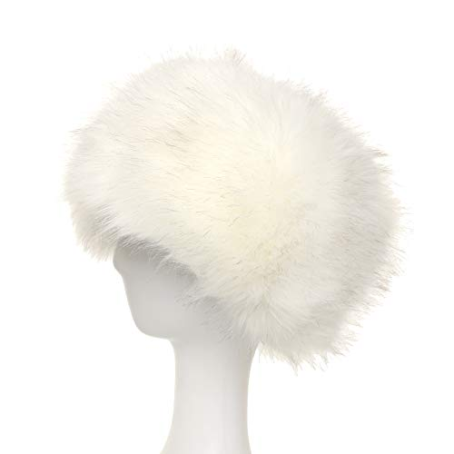 8e8ae071db7 La Carrie Women s Faux Fur Hat for Winter with Stretch Cossack Russion Style  White Warm Cap