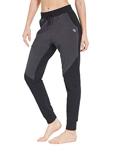 (Baleaf Women's Active Yoga Lounge Sweat Pants with Pockets Black/Charcoal Size S)