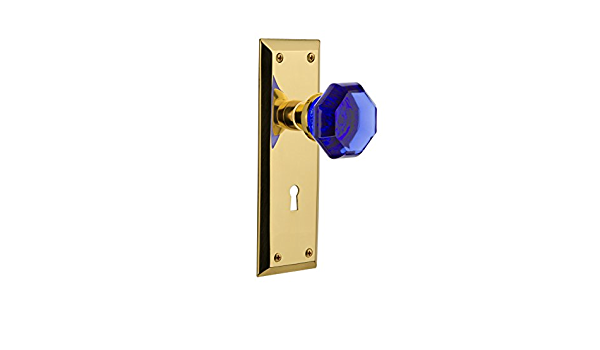 Nostalgic Warehouse 723953 New York Plate With Keyhole Double Dummy Waldorf Cobalt Door Knob In Polished Brass Amazon Com