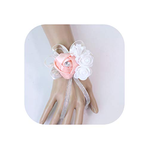 Wedding Decoration Mariage Roses Wrist Corsages Hand Flowers Silk Lace PE Foam Artificial Brides Bridesmaid Wrist Flowers,19