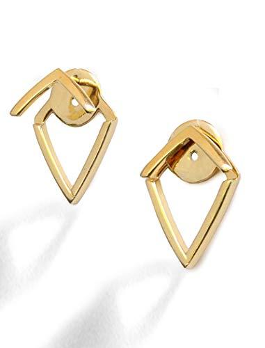 (TRILL EAR JACKET EARRINGS For Women | 18K Gold Vermeil | Diamond Wishbone Studs | 2 Way Convertible | Hypoallergenic | 925 Sterling Silver base | Women Jewelry | Birthday Wedding Bridesmaid gifts)