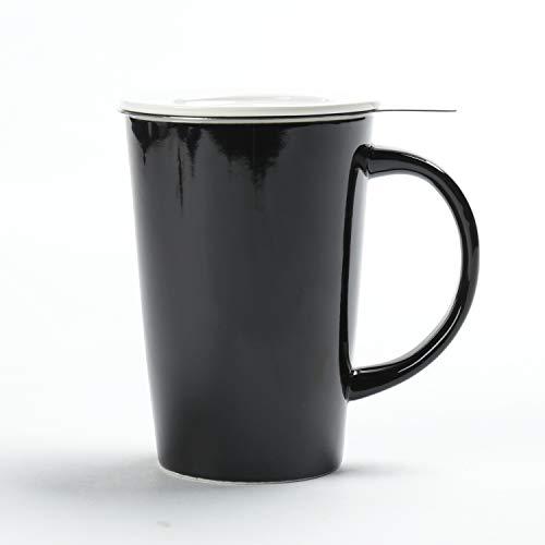 TEA SONG Ceramic Tea-Mug(14 oz) with Infuser and Lid, Jupiter, Dad Mom Women Teaware with Filter-(BLK) Tea Cup Steeper Maker, Brewing Strainer for Loose Leaf, Diffuser mug set for Tea Lover Gift (Gift Set Tea Lovers)
