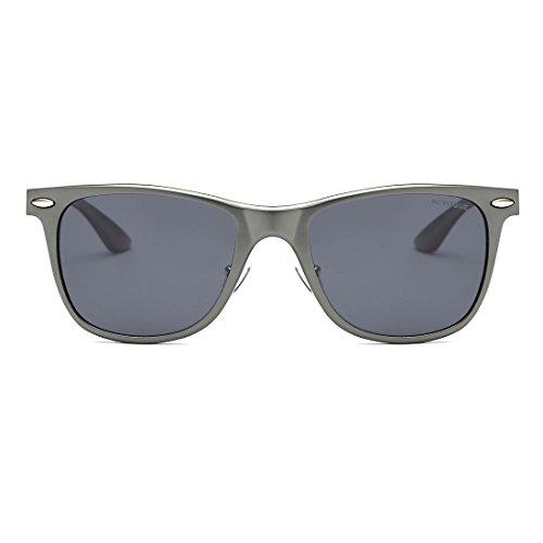 AEVOGUE Polarized Sunglasses Ultra-Light AL-Mg Alloy Frame 80s Retro AE0525 Gray