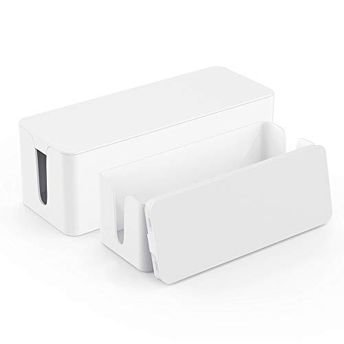 Cable Box Organizer - Power Strip Cable Management Box - Cord Hider Box for Hiding Surge Protector Cover - Set of 2, White (Large Box Cable Organizer)