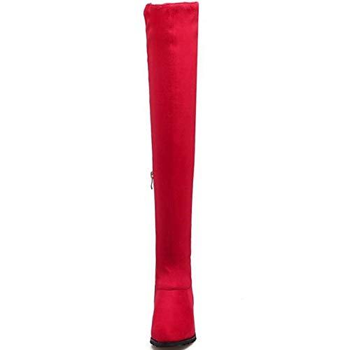 Bottes Taoffen Bas Mode Cuissardes Talon Zipper Rouge Femmes wOgqHa