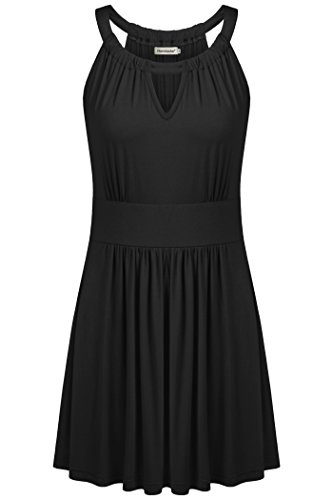 Halter Shirt Empire Top (Nandashe Women Casual Tops and Blouses, Ladies Black Summer Modern Empire Waist Pleated Stretch Halter Loose Flowing Aline Tanks for Leggings Home Wear Sportswear Large)