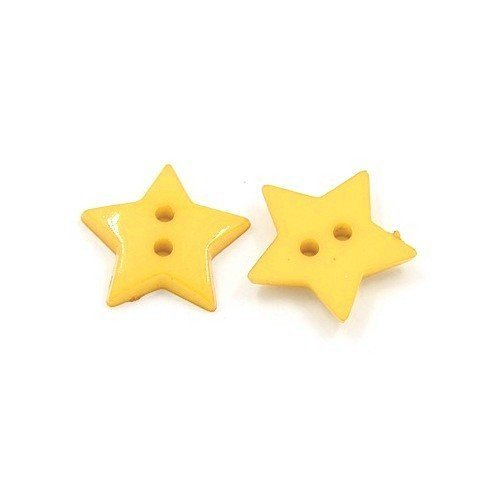 Pack of 50+ Dull Yellow Acrylic 19mm Star Buttons (2 Hole) - (HA09560) - Charming Beads