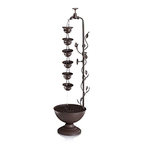 (Alpine Corporation Hanging 6-Cup Tiered Floor Fountain - Bronze Indoor/Outdoor Water Fountain for Garden, Entryway, Patio, Yard)