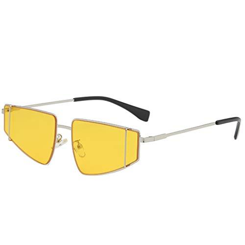 (Garish ❤️❤️Unisex Vintage Student Sunglasses,Fashion Irregular Shape Sunglasses Glasses, Shady Rays Sunglasses for Men Yellow)
