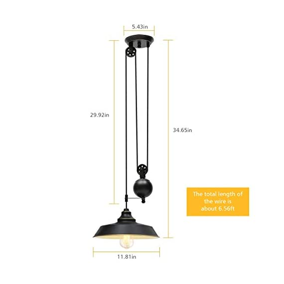 KingSo Rustic Pulley Pendant Light One Light Adjustable Height Industrial Black Ceiling Hanging Light Indoor Island Lamp for Dining Living Room Kitchen Hallway Foyer Farmhouse, One Light - ✔ Rustic Pulley Pendant Light - The vintage retro style with black color and golden rim, pulley adjustable design and golden lining generates an antique flavor. Adjustable length design with movable pulley makes you achieve the perfect lighting. ✔ Specification - The diameter of the lampshade is 11.81in, black surface and golden lining. The total length of the hanging wire is about 6.56ft. The diameter of the canopy is 5.43in. Operating Voltage: 110V. Max. Power: 60W. E26 base (Bulb NOT Included). ✔ Safe and Secure - Hardwired. UL listed. Strong woven rope wraps up the electric wires, not easy to break. Ceramic lampholder-heat-resistant, anti-deformation, corrosion-resistant. - kitchen-dining-room-decor, kitchen-dining-room, chandeliers-lighting - 31qp0tfnSTL. SS570  -