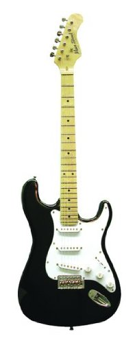 Main Street Guitars MEDCBK Double Cut-Away Electric Guitar with 3 Single Coil Pickups