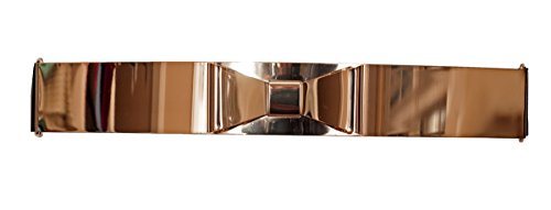 eVogues Plus size Gold Metallic Big Mirror Bow Elastic Fashion Belt Black - One Size Plus (Size Plus Metallic Belt Gold)