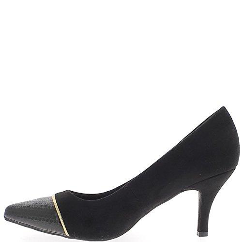 Zapatos tamaño grande 8,5 cm ante mirada talón sharp negro