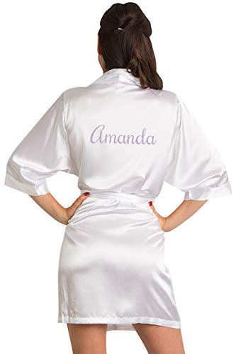 Girleo Women's Personalized Name, Custom Titles or Phrases-Bride Bridesmaid Mother of The Bride Maid of Honor Mother of The Groom White Satin Robe S/M 4-12]()