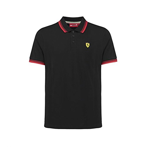 Scuderia Ferrari Men's Formula 1 2018 Authentic Men's Black Contrast Collar Polo (Medium) (Mens Polo Racing)