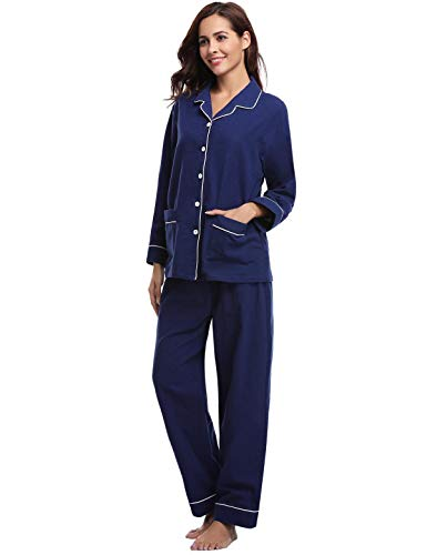 Abollria Pigiama Set Da Camicia Lunghe Pezzi In blu Lungo Con Donna C Due Cotone Notte Maniche SST5Rqd