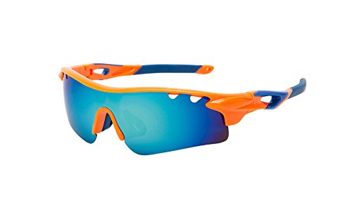 Sports sun glasses for women men cycling motorcylcle driving running racing golf baseball climbing skiing fishing hiking camping trekking or other outdoor activities (Chartreuse len orange frame, - The Work Will For Eclipse Sunglasses Polarized