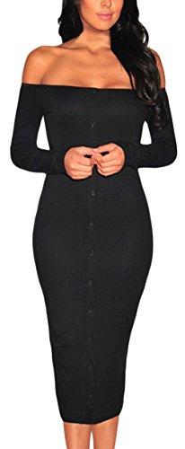 La Vogue Women Off Shoulder Midi Dress Ribbed Knitted Button-Down Dress Black US 0-2