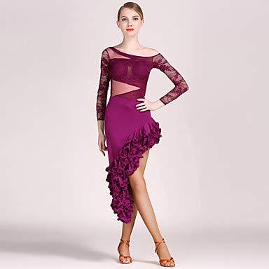 国内最安値! ラテンダンス衣装レディーストレーニングパフォーマンスレースチュールドレープ長袖トップスカート B07PBZ6P7B B07PBZ6P7B Medium|Purple Purple Medium Purple Medium, カガワチョウ:47f56a87 --- a0267596.xsph.ru