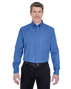(UltraClub 8975 UC Mens Whisper Twill Wovens French Blue L)