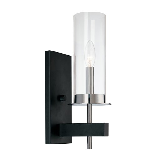 Sonneman Chrome Sconce (Sonneman 4060.54, Tuxedo Tall Glass Wall Sconce Lighting, 1 Light LED, Chrome/Black)