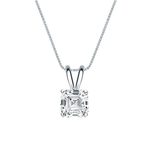 (IGI Certified Platinum 4-Prong Basket Asscher-Cut Diamond Solitaire Pendant (3/4 cttw, H-I, I1-I2))