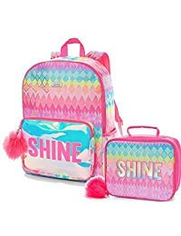 Justice Set of 2 School Backpack and Lunch Tote Shine Geometric]()