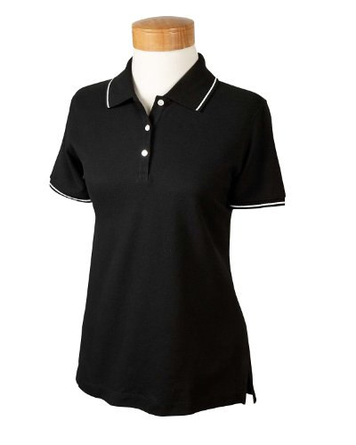 Devon & Jones Women's Pima Pique Tipped Polo Shirt, Small, Black/White - White Tipped Pique Sport Shirt