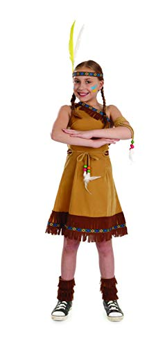 Girls Native American Costume Brown Fringed Indian Dress Outfit - Small