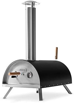 BURNHARD Horno para Pizzas Exterior de Acero Inoxidable Nero, Incluye Pala y Piedra para Horno Pizza, Pizzera de Calidad, Horno de leña Premium para el jardín Exterior Patio
