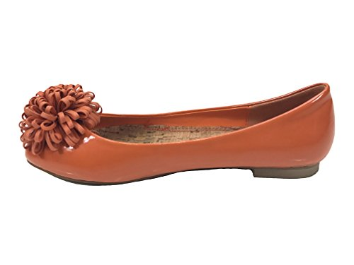 Passioni Y-519-5 Jill Orange Flats Con Pom Pom