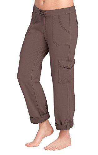 PajamaJeans Women's Straight Leg Cargo Pants in Brown