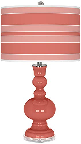 Modern Table Lamp Coral Reef Glass Apothecary Bold Stripe Giclee Drum Shade for Living Room Family Bedroom Bedside - Color + Plus