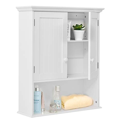 Vanity Bathroom Hanging (Tangkula Wall Mount Bathroom Cabinet Wooden Medicine Cabinet Storage Organizer with 2-Doors and 1- Shelf Cottage Collection Wall Cabinet White)