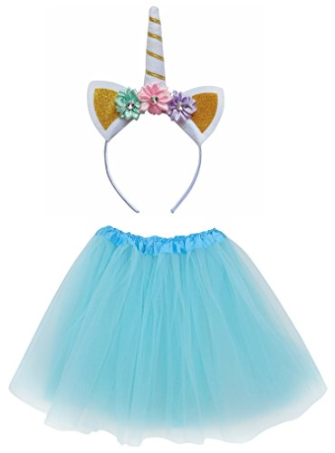 So Sydney Kids Girls 1-2 Pc Flower Unicorn Headband or Tutu Set Costume Outfit (Aqua, M (Kid Size)) ()