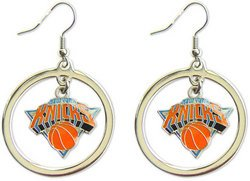 NBA New York Knicks Floating Logo Hoop Earrings