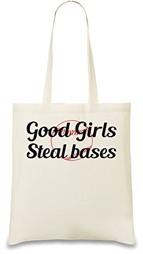 Good Girl Steal Bases Slogan Custom Printed Tote Bag| 100% Soft Cotton| Natural Color & Eco-Friendly| Unique, Re-Usable & Stylish Handbag For Every Day Use| Custom Shoulder Bags By Bang Bangin Steal Bases