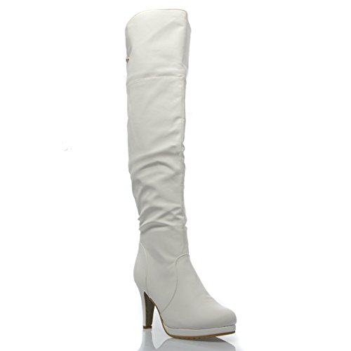 V-Luxury Womens 33-PAGE5 Closed Toe Over The Knee High Heel Boot Shoes, White PU Leather, 5 B (M) (White Boot Tops)