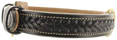 Viosi Leather Padded Dog Collar - Made of Genuine Kingston Luxury Leather (X-Large, Black Braid)