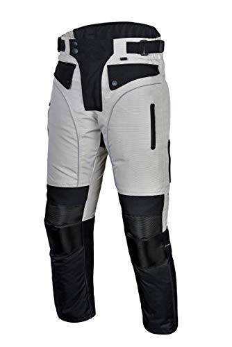 Mens Motorcycle Biker Waterproof, Windproof Riding Pants Gray with Removable CE Armor PT1 (L) by Xtreemgear