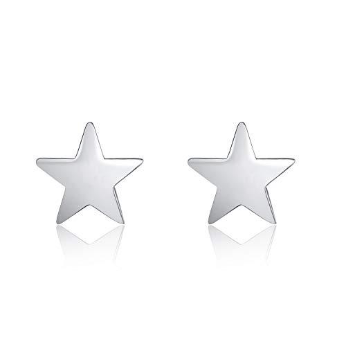 (LUHE Star Stud Earrings Sterling Silver Simple Polished Star Jewelry Earrings Studs Gift for Kids Women Teen Girls )
