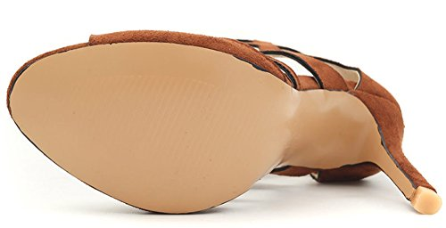 Aisun Women's Chic Hollow Block Faux Suede High Stilettos Sandals Yellow wnv4fIX