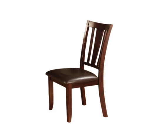 Furniture of America Anlow Padded Leatherette Side Chair, Espresso Finish, Set of 2